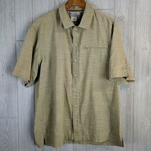 Columbia Short Sleeve Button Down Shirt Large Tan